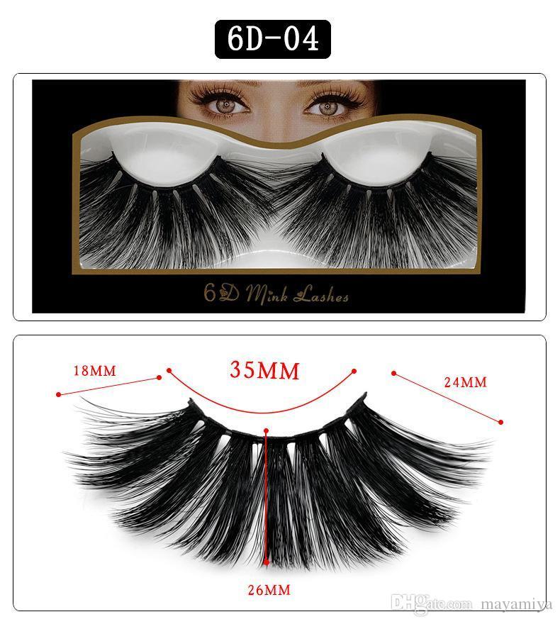 NEW Hot 25mm 3D Cílios Postiços Naturais Cílios Postiços 3D Vison Extensão dos Cílios Maquiagem Grande Dramático Vison Cílios Postiços 6D-04