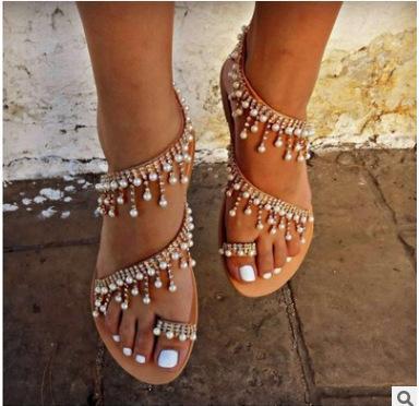 Schuhe Frau Flache Sandalen Sommer Perle Sandalen Plattform Schande Sexy Neue Dame Sandale Frauen Mode Sommer Flip Flops Strass Strand Sandale