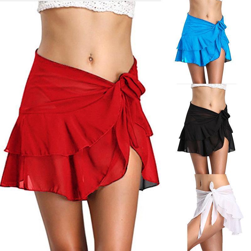 Mujeres Faldas 2020 playa de la gasa de la cubierta hasta Pareo desgaste volante Wrap Beach faldas cortas