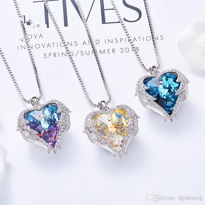 Sea heart of Europe and America hot style USES the element heart necklace female crystal sweater chain
