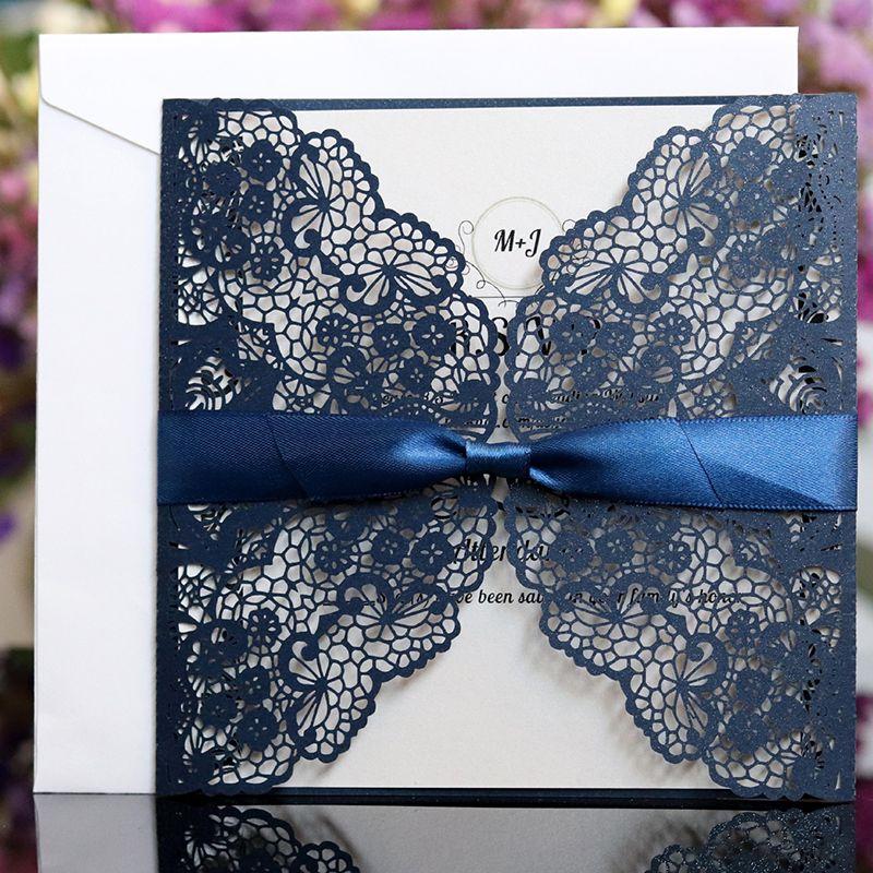 2019 New Glitter Láser Tarjetas de invitaciones con cintas para el compromiso de la ducha nupcial de la boda tarjetas de graduación de cumpleaños
