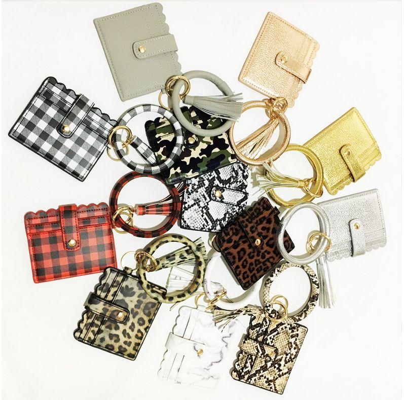 PU-Leder-Armband-Armband-Karten-Beutel-Mappen-Schlüsselanhänger Armband Schlüsselanhänger Leopard Handtasche Leder-Armband-Kreditkarteninhaber mit Quaste