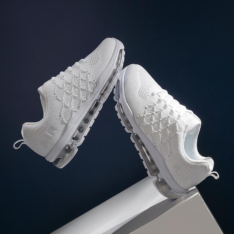 2020 das mulheres Tênis respirável Tecido Sneakers Mulheres Air Cushion Mulher Borracha sapatos brancos do esporte das mulheres Sneakers