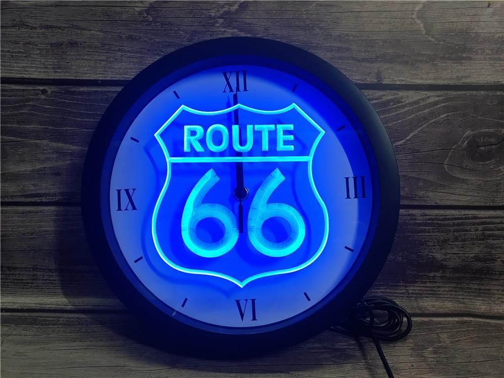 0B371 Historic Route 66 Mother Road APP RGB LED Neon Light Signs Wall Clock