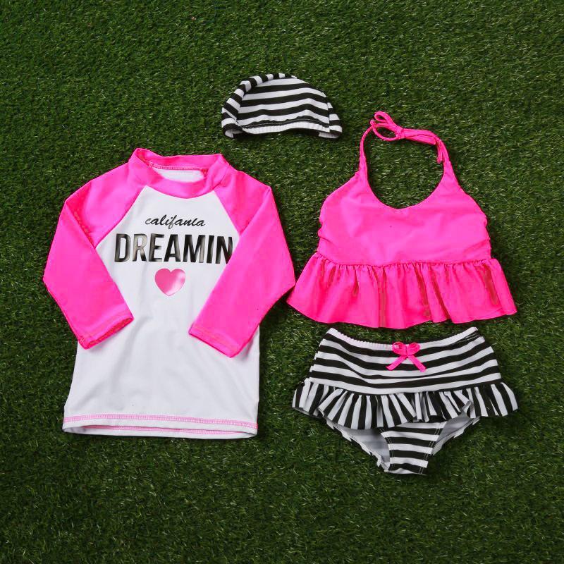 Baby-Badebekleidung Striped Badeanzug für Kinder Kleinkind-Mädchen-Badeanzug Kleidung Strand Kleidung 3M-24M