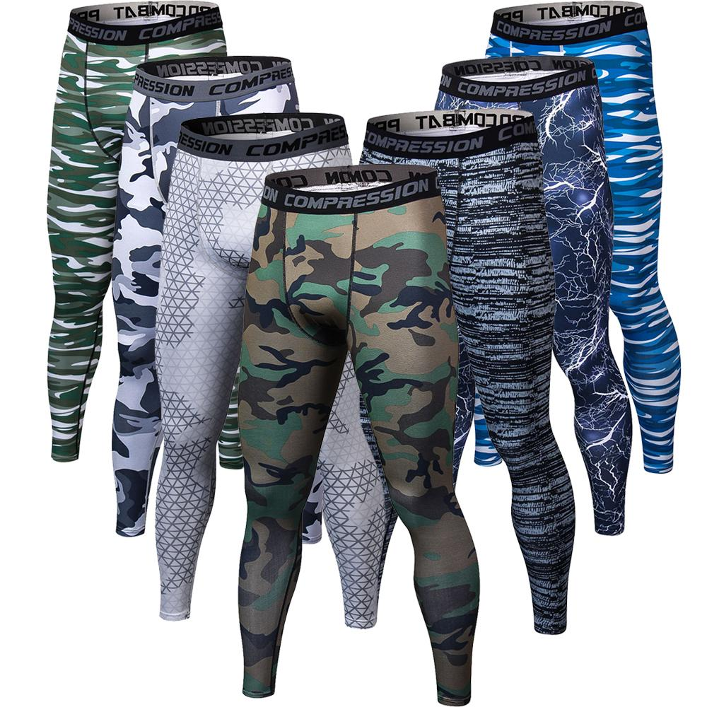 Impressão 3d de Fitness Camuflagem Enquanto Corredores De Compressão Calças Masculinas Calças Justas Leggings Bodybuilding Musculação Para Homens C19041901