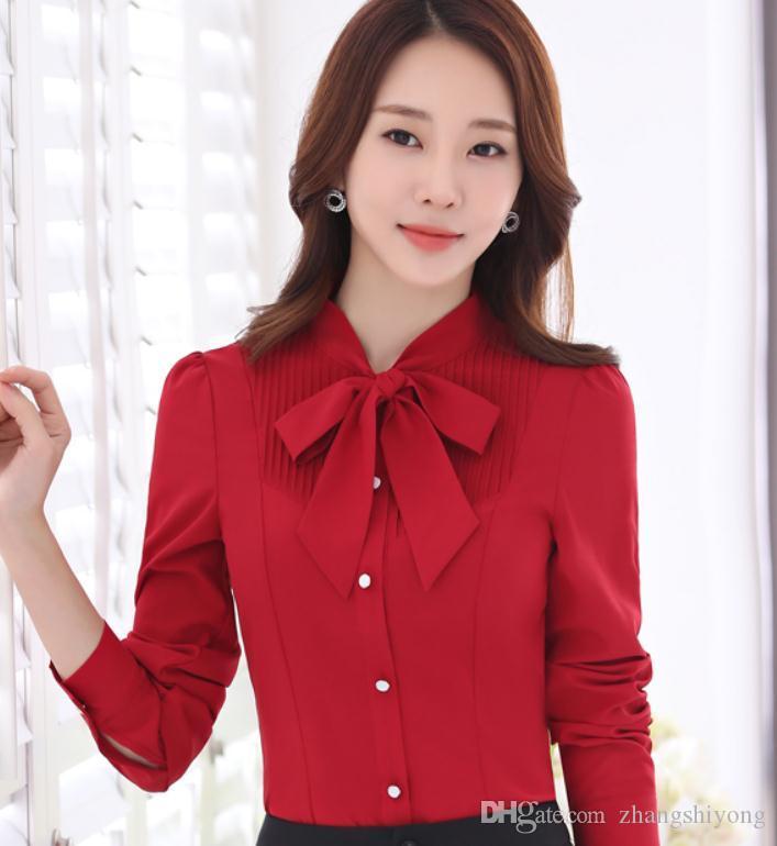 2019 kadın gömlek ile ilkbahar ve sonbaharda Yeni stil Uzun kollu Standı yaka moda ilmek @ 002