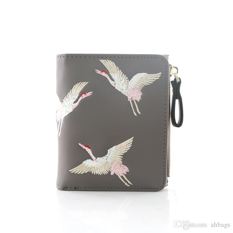 New fashion lady's bag Mini embroidery Short Learning Wallet Retro pack New Student Wallet Retro female bag
