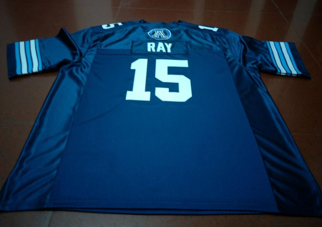 Benutzerdefinierte Männer Jugend Frauen Jahrgang Toronto Argonauts Ricky Ray # 15 Fußball-Jersey-Größe s-4XL oder benutzerdefinierten beliebigen Namen oder Nummer Jersey