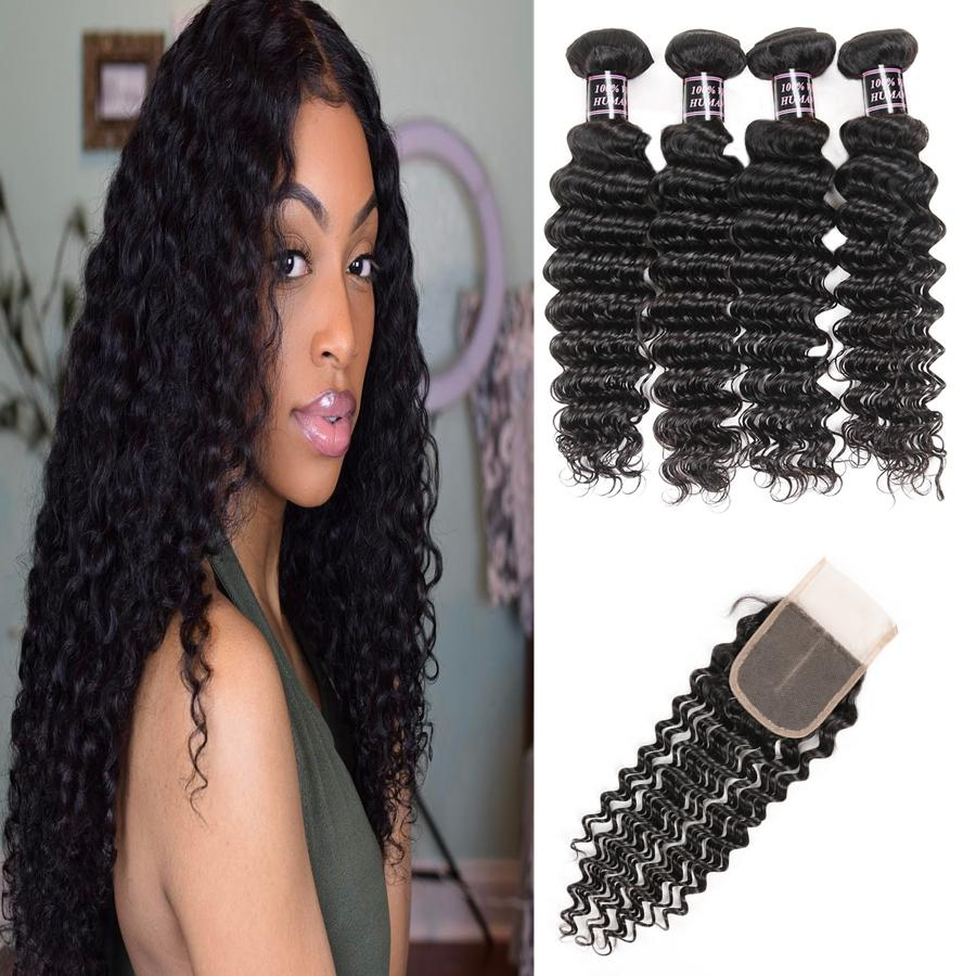 Malaysian Deep Curly Human Hair Bundles With Closure Peruvian Hair 4Bundles with 4*4 Lace Closure Body Wave Deep Loose Wave Hair Extensions
