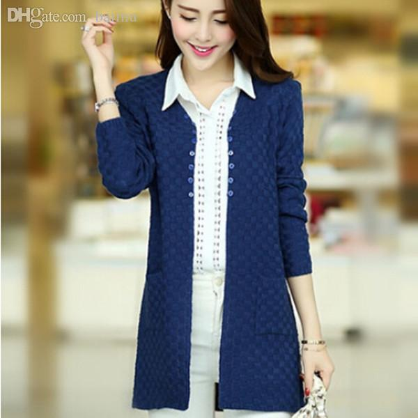 b9ed0d34f7 Women Cardigan Sweater Fashion Korean Style Cashmere Long Knitted Sweaters  Women's turtleneck Ladies Cardigan tricot Q440
