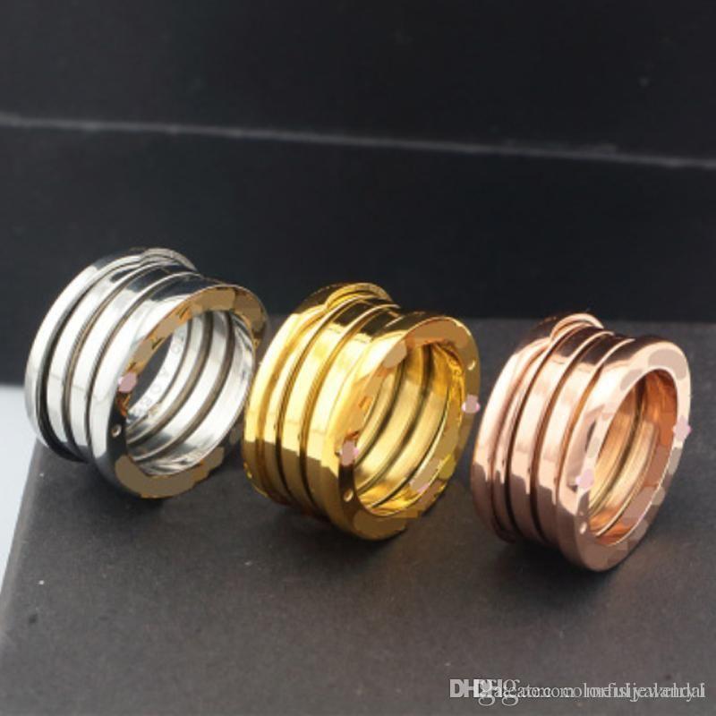 Gioielli Europa Classica anello elastico in acciaio inossidabile placcato oro 18 carati anelli d'oro di colore larga in acciaio anello di titanio femminile rosa Anello in oro per gli uomini donne