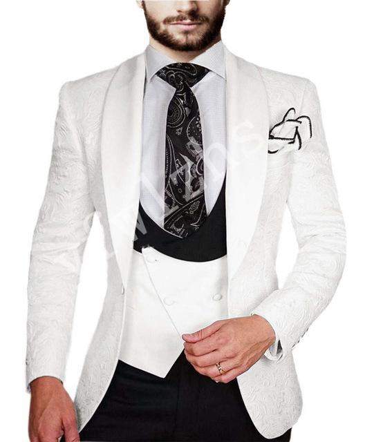 Yakışıklı Groomsmen yün karışımı Damat smokin Mens Gelinlik Man Ceket Blazer Balo Yemeği (Ceket + Pantolon + Kravat + Yelek) A001