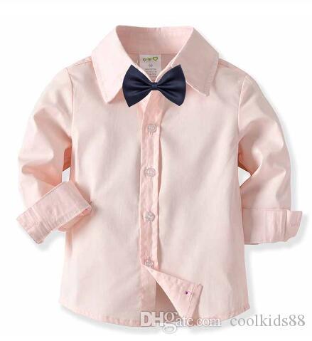 Детские мальчики рубашки мальчики розовая рубашка с длинным рукавом детская хлопчатобумажная нижняя рубашка Детская одежда мода джентльменская одежда