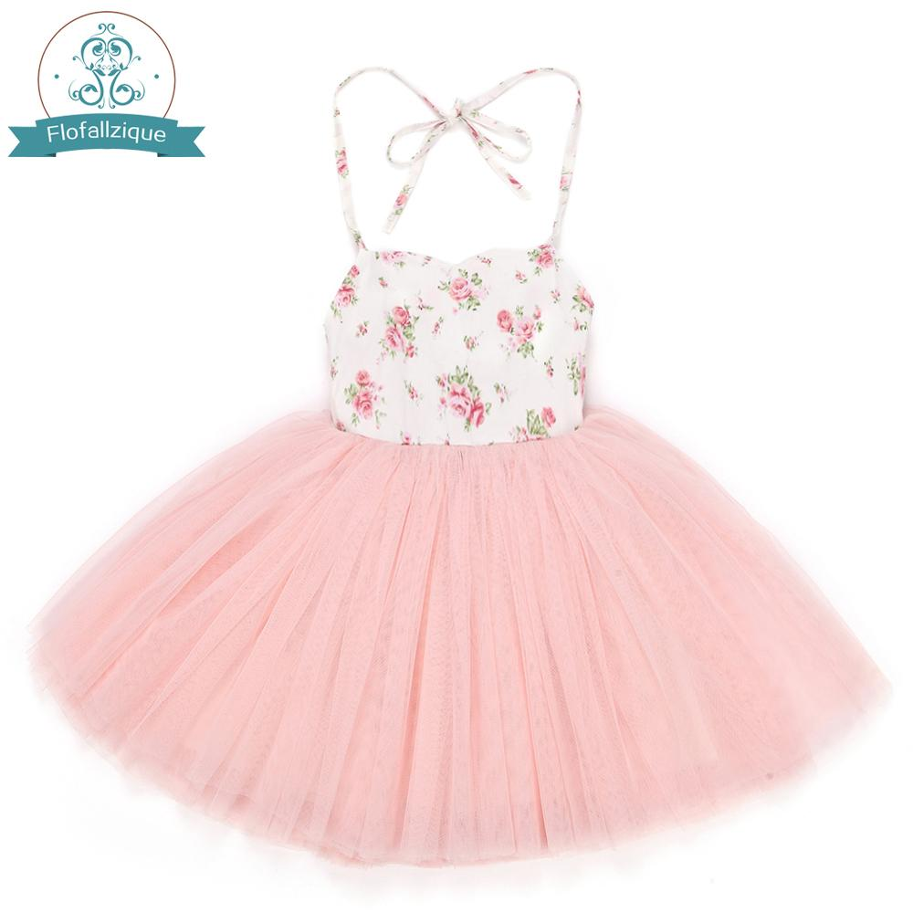 Tulle Grils 4 strati Abiti con floreale vintage carino dolce Summer Party Wedding Special Occasi Princess For Kid Clothes MX190725