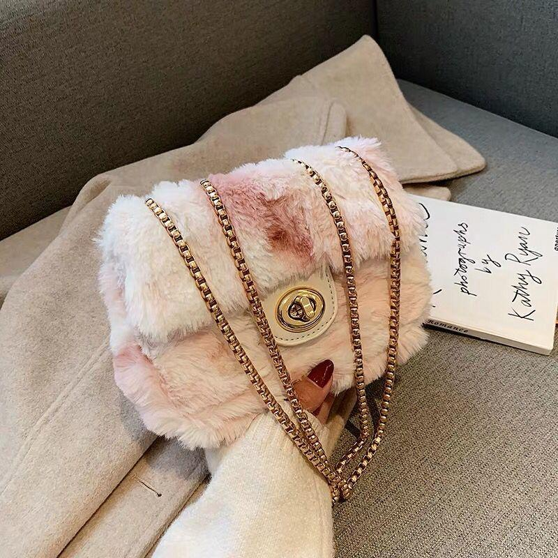 Elegant Female Square Crossbody Bag New Soft Plush Womens Designer Handbag Chain Shoulder Messenger Bag
