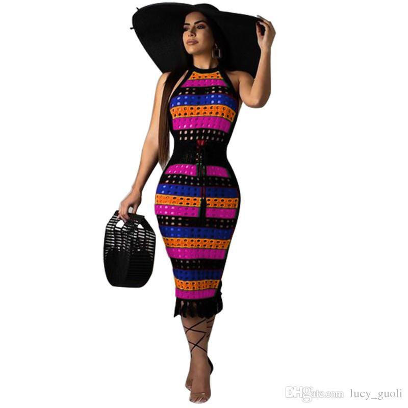 new women dot hollow out colorful stripes sleeveless tassel hem midi dress beach summer bohemian dresses Rainbow Striped Sexy Bandage Dress