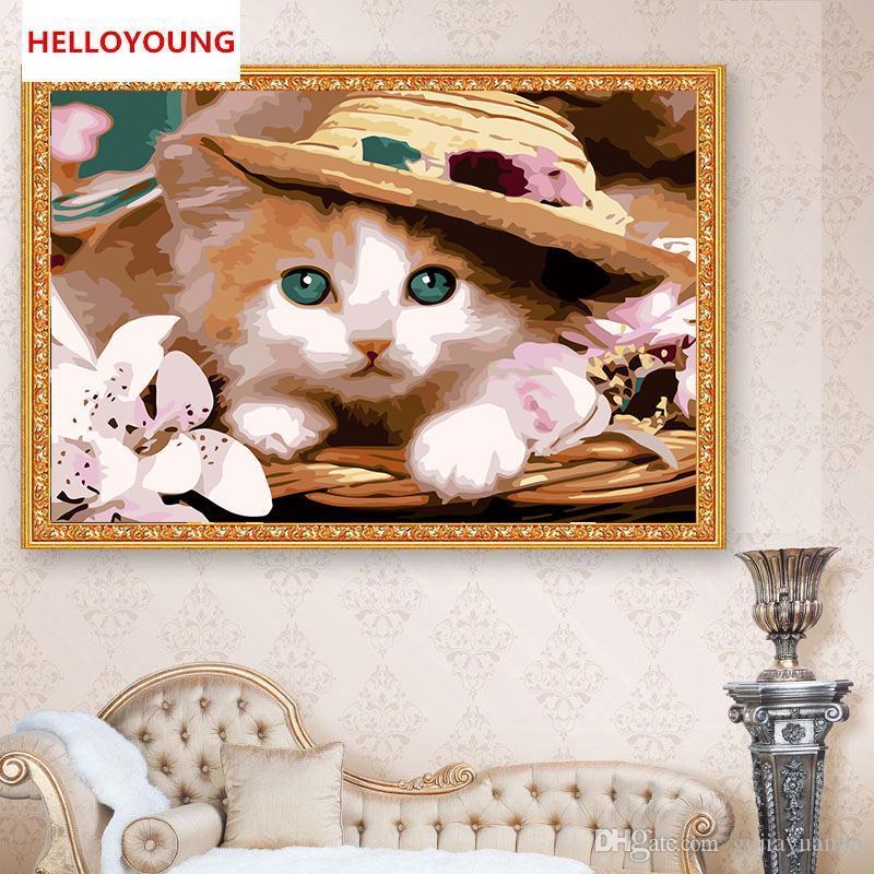 HELLOYOUNG Peinture numérique peint à la main peinture à l'huile princesse Cat par numéros peintures à l'huile Peintures Chinoises Décoration intérieure