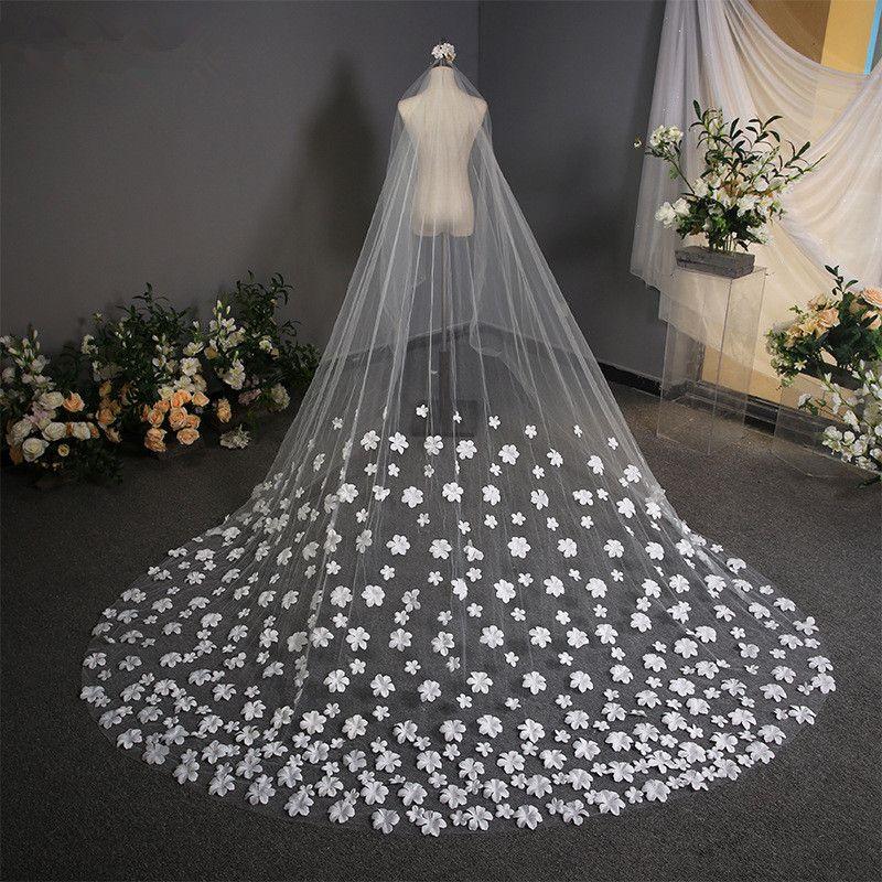 Белый 3,8 м срезанный край собор длина свадебное фата длинная Велос де noiva 1 уровня аппликация свадебные фата с расческой