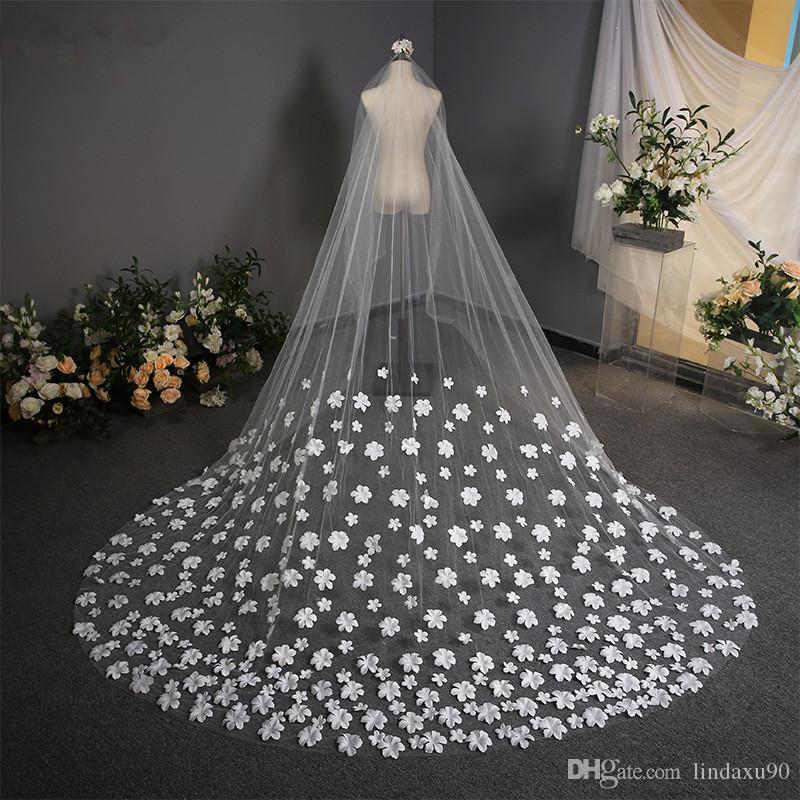 3.8m Blanco Longitud de corte Edge catedral de velo de novia Velos largo de Noiva 1 Nivel velo de novia apliques con peine