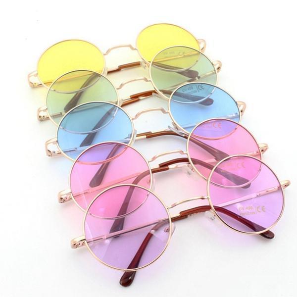 موضة جديدة للجنسين أزياء دائرة النظارات الشمسية النظارات الملونة نمط العلامة التجارية تصميم الصيف النظارات الشمسية الشحن المجاني