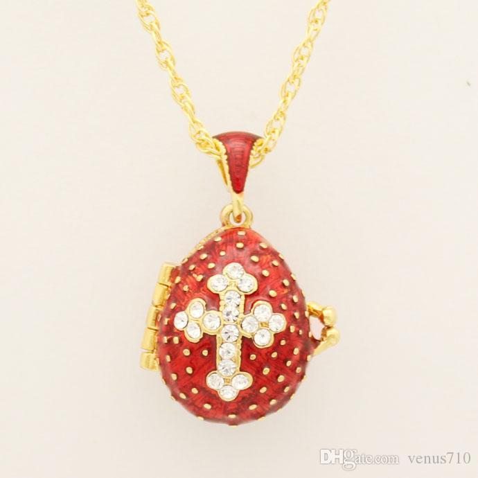 Подходит для европейской роскоши Фаберже яйцо подвеска красный кристалл крест кулон ожерелье эмали Европа пасхальные яйца, рождественские подарки