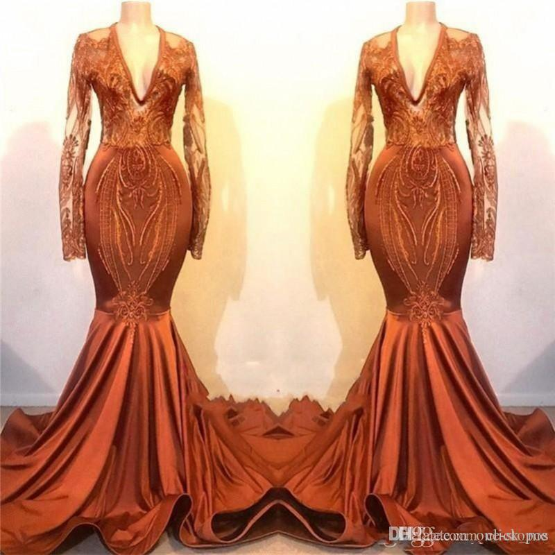 2K19 Mermaid Prom Dresses Deep V Neck Lace Appliques Long Sleeves Mermaid Evening Gowns Satin Piping Sweep Train Cheap Formal Party Dress