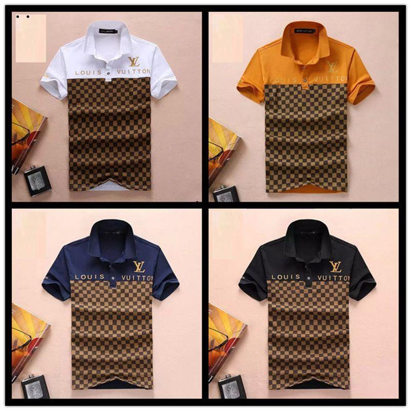Itália Nova Marca de luxo designers de moda casual homens polo t camisas de abelha serpente floral listra impressão mens polos M-3XL