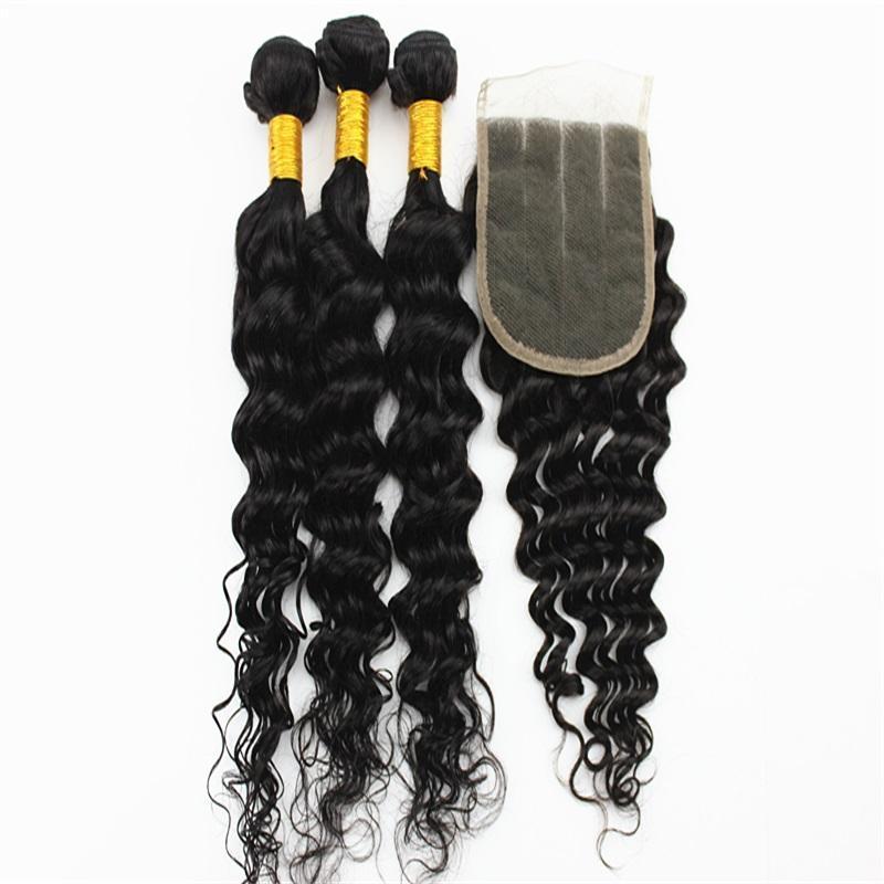 Je Brésilien Indien Extensions cheveux vague profonde de 50 g / Bundle avec 4x4 libre Raie des cheveux Fermeture 100% Vierge Cheveux Tissages Couleur naturelle