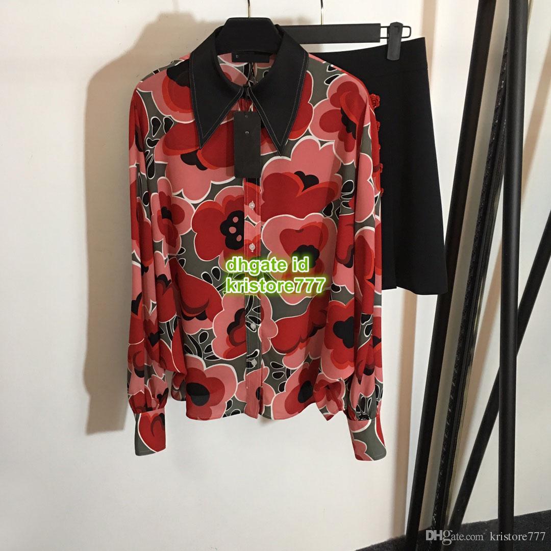 2019 Yaz kadın Çiçek Düğme Çiçek Baskılı Blazer Bluz Paris Moda hafta Yüksek Kalite Yaka Boyun Gömlek + Mini Etek İki Adet Set
