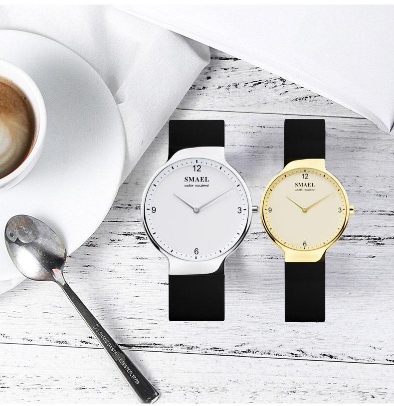 2020 gündelik kuvars İZLE Seti 1835 basit çift esnek su geçirmez kol saati severler set gümüş Relógio de casal üst hediye