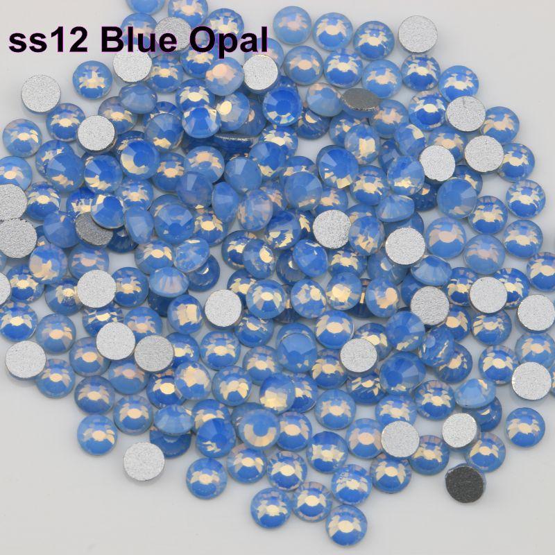 Envio Grátis! 1440pcs / Lot, SS12 (3.0-3.2mm) Blue Opal Plano Voltar Nail Art Non Hotfix Strass