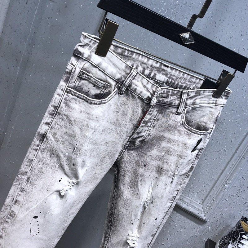 HOT Chegada Mens Designer Jeans Vintage Dobre Bleached Estilo Buraco Moda 2541 Jeans Mens Magro Motociclista Causal Mens Hip Hop Pants