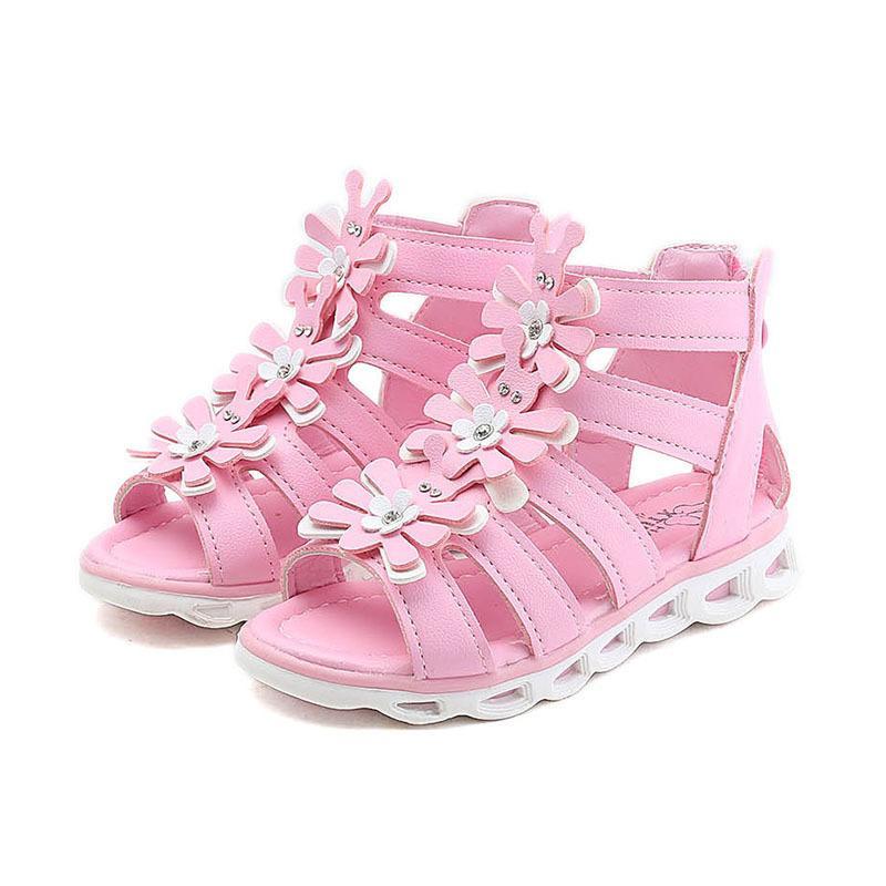 Kids Non-slip Rubber Sole Beach Sandals Shoes Girls Princess Flower Roman Sandals Children Summer Shoes Size 27-37