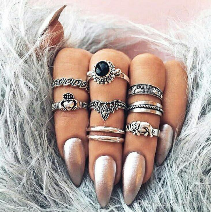 Retro Vintage Carving Hearts Imperial Crown Elephant Charm Wedding Party Finger Joint Rings Women Fashion Accessories 8 Pieces Jewelry Set