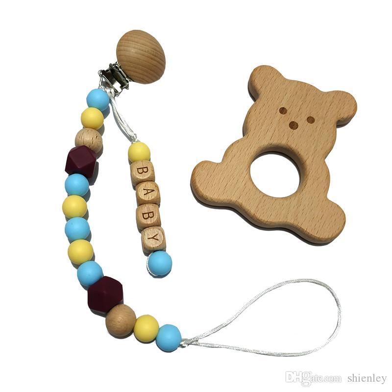 Bebek için DIY Silikon Kişiselleştirilmiş Adı Bebek emzikleri Zinciri Ahşap Hayvan diş kaşıyıcınız Silikon Teething Boncuk emziği Zinciri Tutucu