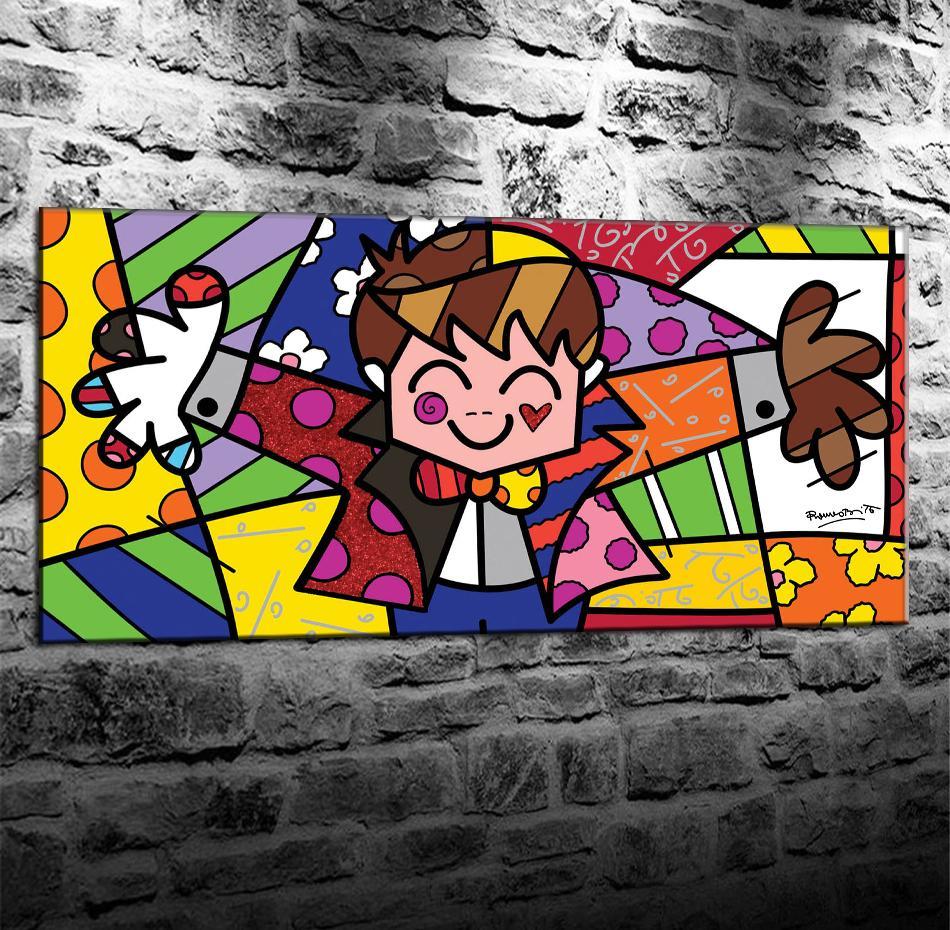 Romero Britto -1, Impresión en lienzo HD Nueva decoración del hogar Pintura de arte / (sin marco / enmarcada)