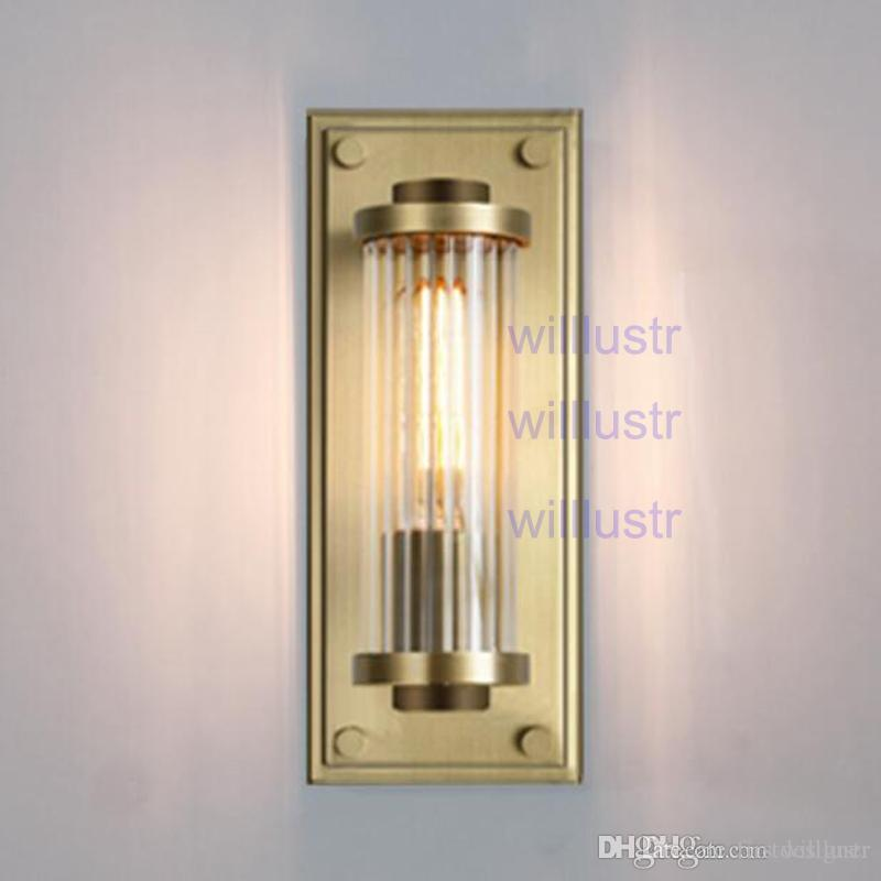 Willlustr vintage copper color wall sconce ribbed crystal glass shade lamp modern lighting porch staircase hotel vanity light