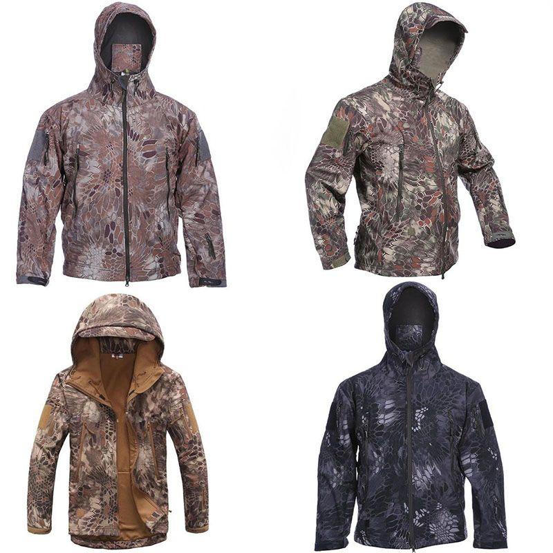 2019 Mens Camouflage Military Tactical Jacket Outdoor Sports Camping Wandern Skifahren Fahrrad-Mantel Mens Camo Taschen mit Reißverschluss Warme Mäntel