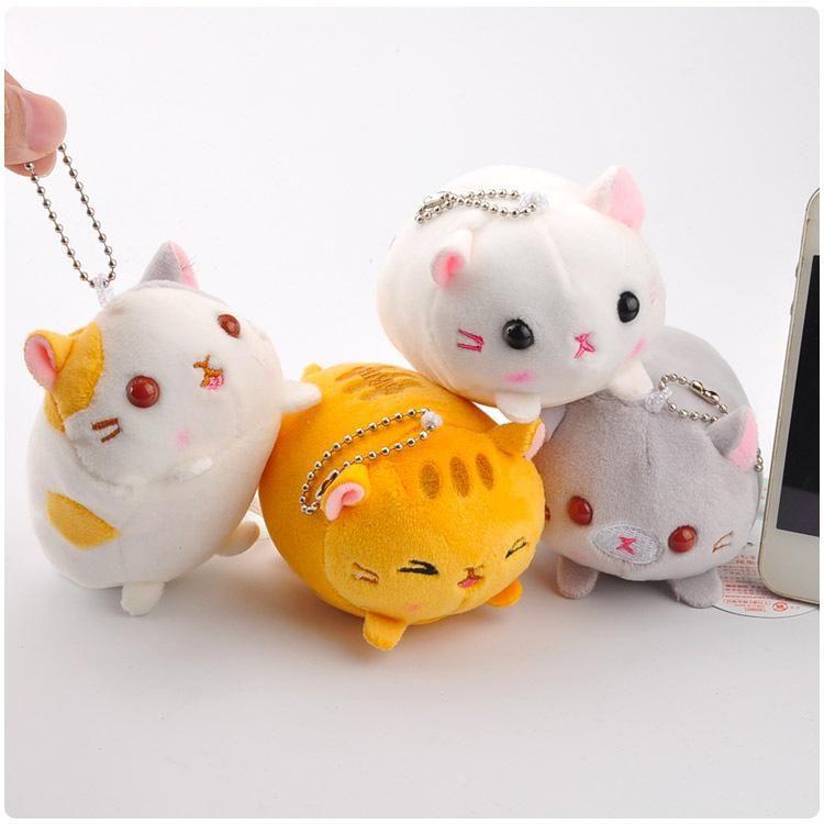 Regalo de cumpleaños 4pcs / set Gato de la historieta pequeño colgante de la felpa linda del gato muñeca de juguete pequeño colgante para las niñas