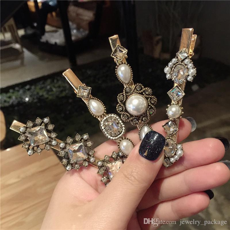 Crystal Pearl Barrettes Baroque Style Quality Hair Clips Lady Luxury Hair Accessories Women INS Retro Barrettes