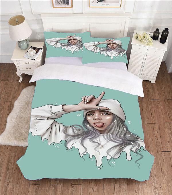 3D Bedding Set, Billie Eilish arredamento camera da letto in microfibra copripiumino ragazze dei ragazzi Consolatore copertura Partita Doppia Federe completa regina re