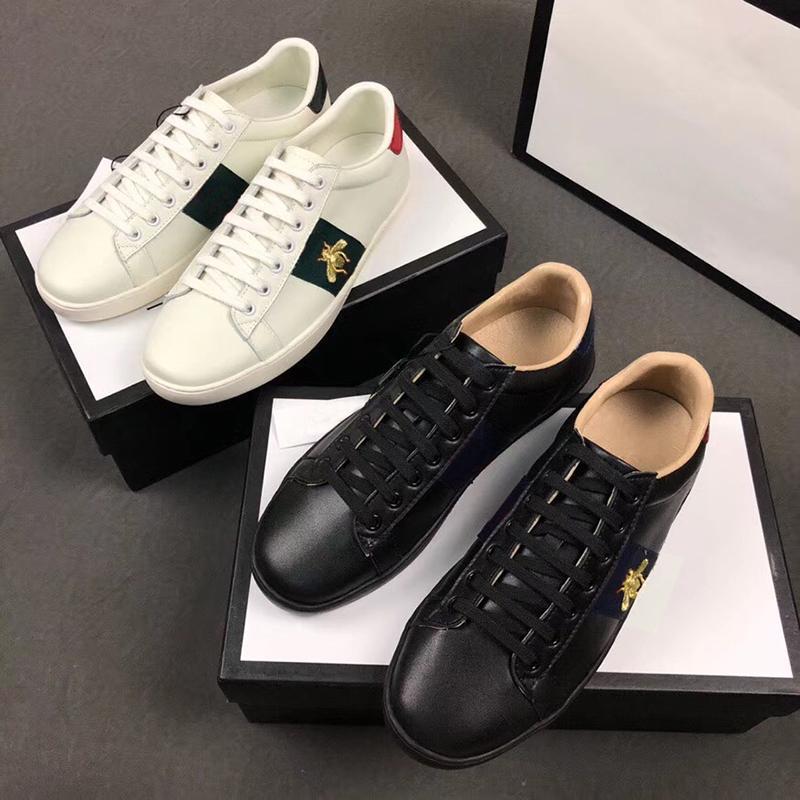 2019Designer Marca sapatos 100% Ace couro da sapatilha bordados Flor homens python tigre abelha pica mulheres formadores clássicos amor tênis SZ 5-11