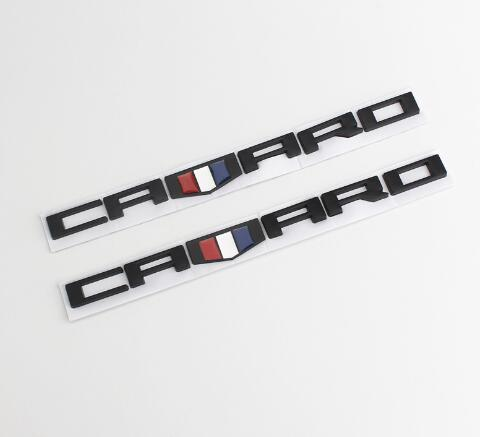2x Camaro Cab Emblem 3D Badge Front Right Left Fender for Chevrolet Matt Black