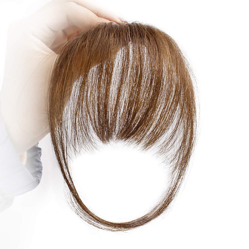 Flequillo plano natural del cabello humano real / flequillo atado a mano MiNi Hair Bangs Extensión de cabello con clip de moda