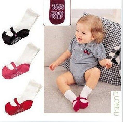 3 colores Bebé recién nacido antideslizante Calcetines de caramelo Zapatillas Zapatos Botas 6-24 meses