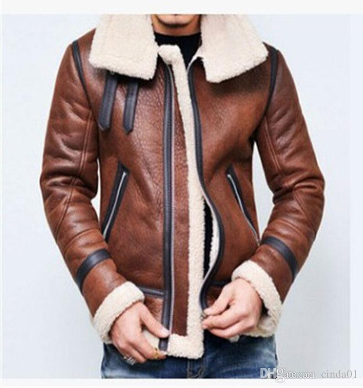 Nova Quente Lambswool Inverno Quente jaqueta de vôo Mens Leather Jacket lã grossa roupas tamanho Coats Manga comprida Outwears roupa