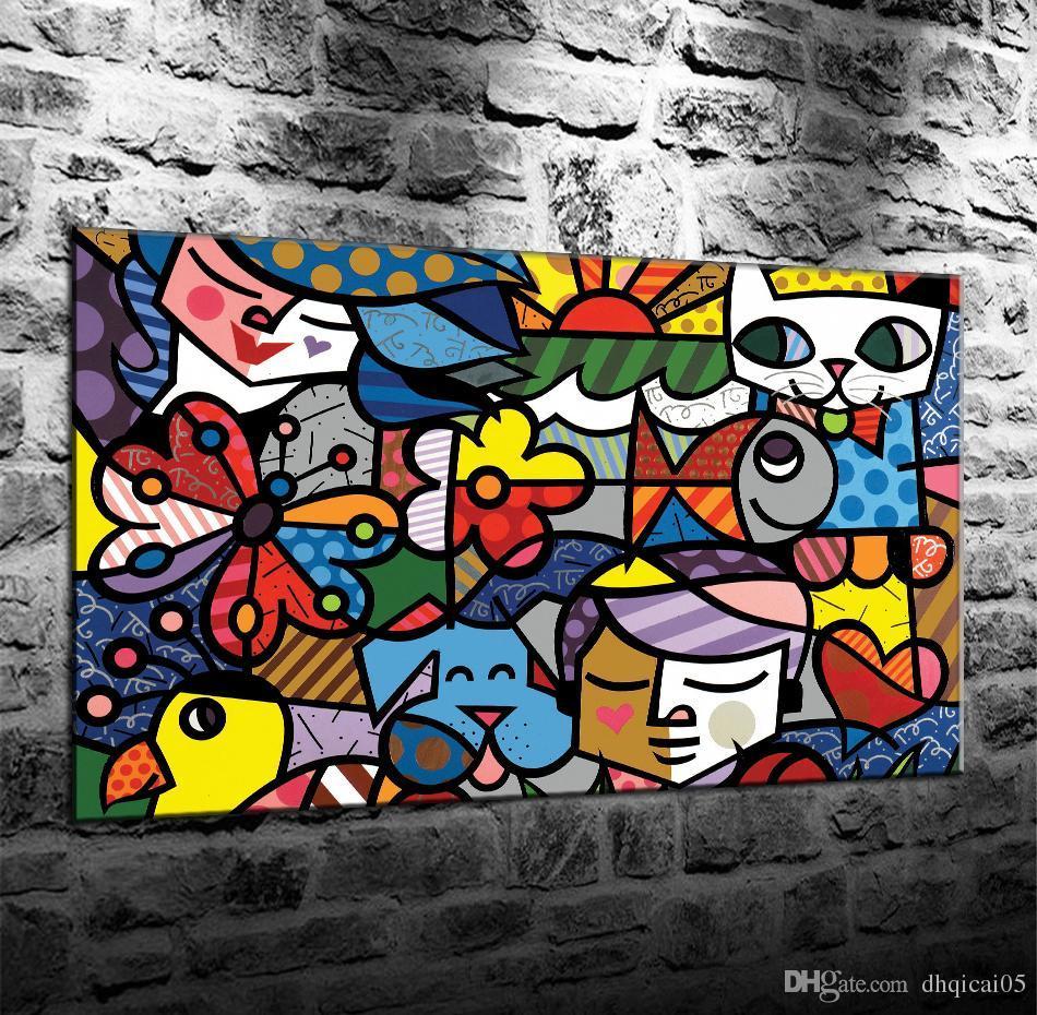 Romero Britto - Fondo abstracto de arte colorido, lienzo HD Decoración para el hogar Pintura de arte (sin marco / enmarcado)