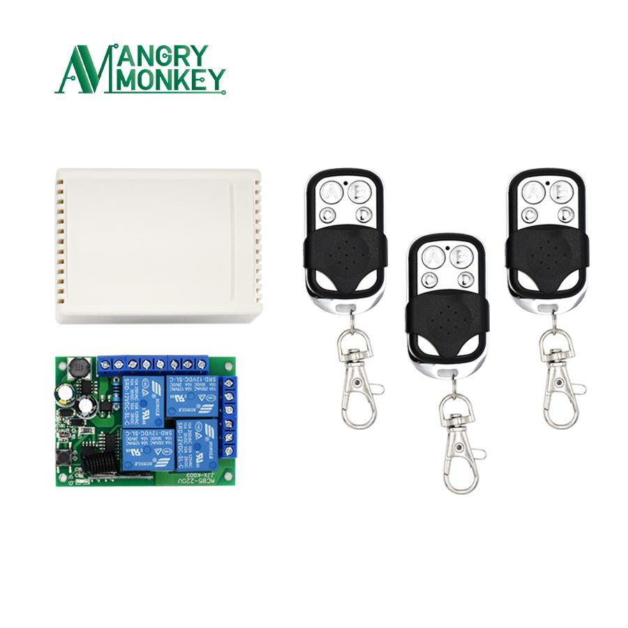 غاضب قرد 433MHZ مفتاح تحكم عن بعد لاسلكية AC 85V ~ 250V 220V 4 CChann ترحيل وحدة استقبال و 433 ميغاهيرتز التحكم