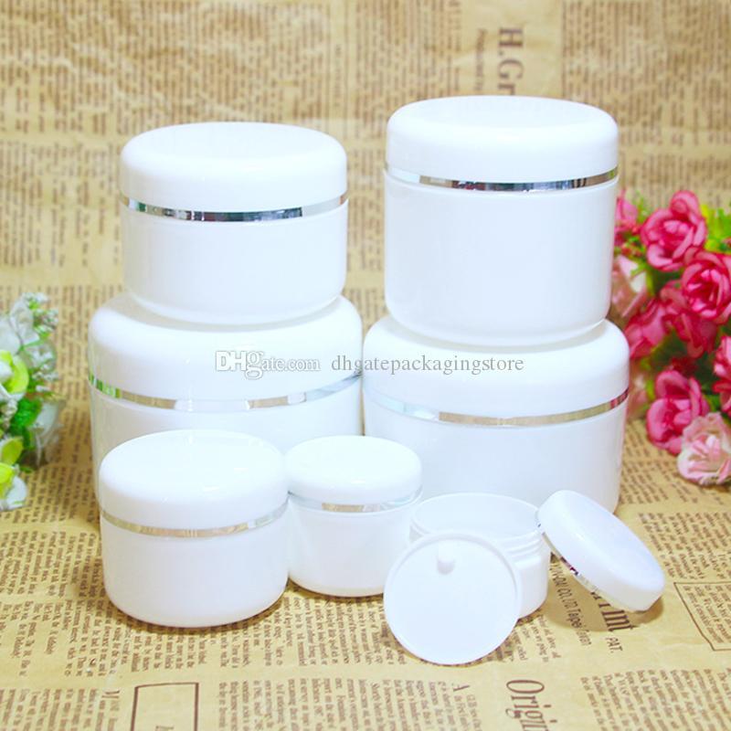 50pcs Viso Viaggi lozione crema cosmetica contenitore ricaricabile Bianco Plastica Vuoto Trucco Jar 20g / 30g / 50g / 100g / 150g / 200g / 250g